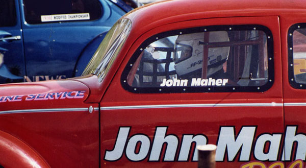 John at the wheel of his tube chassis oval race car. Avon Park 1993