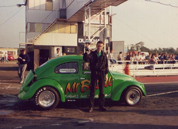 John wins the Modified class at the German Car Company Summer Nationals, Santa Pod 1988