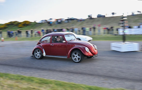 JM behind the wheel at the Stornoway drags