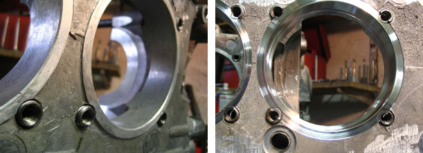 LEFT: before machine work      RIGHT: after boring and machining the cylinder seating face (decking)