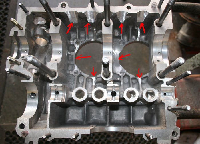 The red arrows show the areas requiring clearancing for Project 2110′s 82mm stroke crankshaft