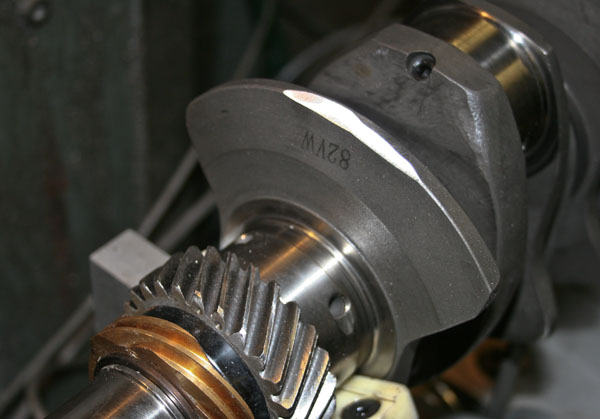 Weight removed from the counterweight to reduce crankshaft unbalance